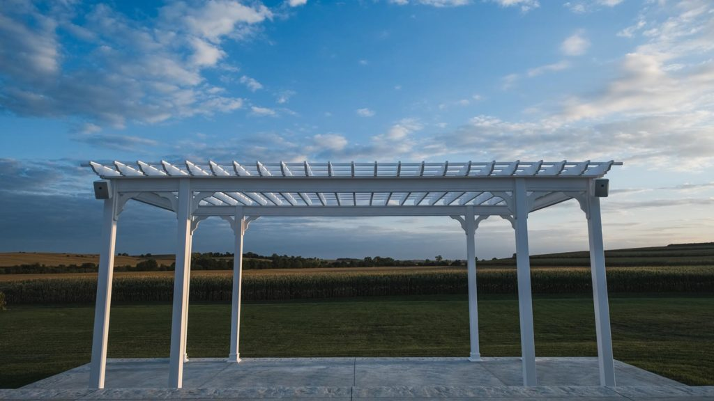 view of gazebo overlooking fields at Palace Event Center