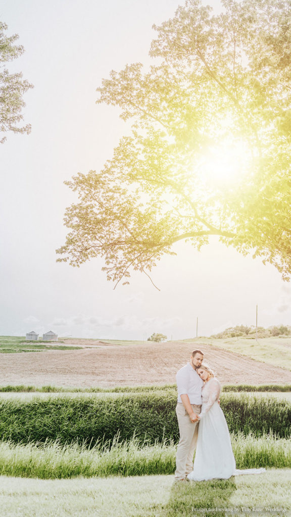 couple posing together outdoors at Palace Event Center | photo by Tiny Luxe Wedings