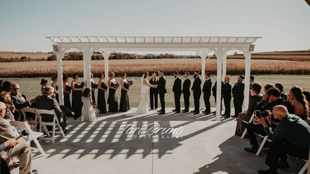 couple and bridal party during outdoor ceremony at Palace Event Center | photo by Tori Bruno