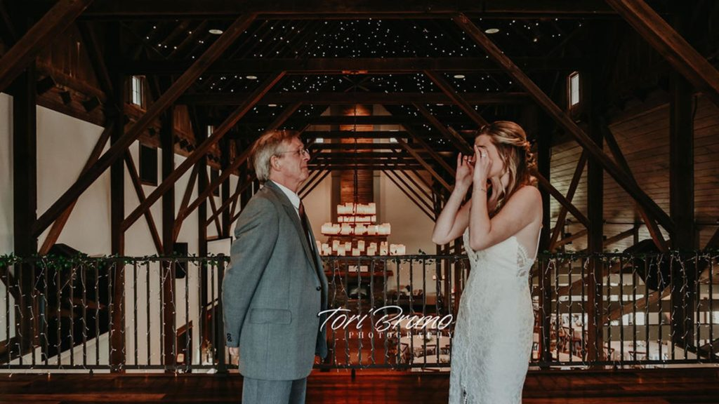 father daughter first look in loft at Palace Event Center | photo by Tori Bruno